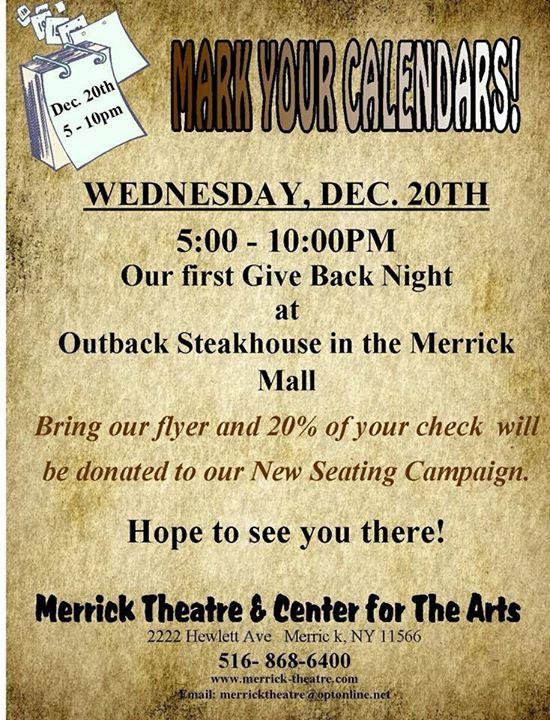 merrick theatre give back night at outback steakhouse portwashingtonmama port washington mama